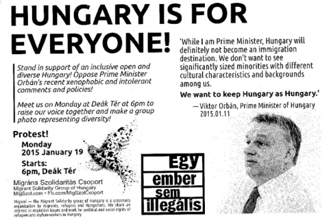 """Hungary is for Everyone!"" Leaflet distributed by the Migrant Solidarityy. English and Hungarian versions in collection. Group of Hungar"