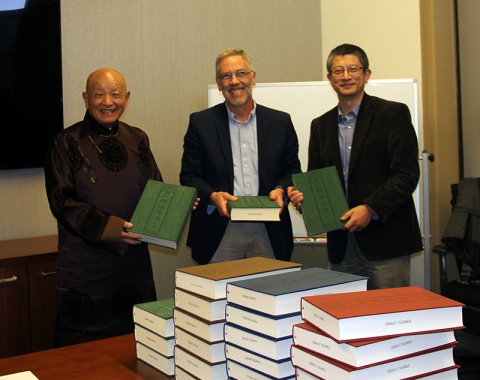 Dr. Moses Li donates a set of the Wenlan ge siku quanshu to the East Asia Library