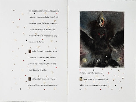 Joseph Goldyne and Thomas Ingmire, unique book, William Blake's The Marriage of Heaven and Hell: A Memorable Fancy, 1989. Calligraphy text with monotype: Inks and gold leaf on paper.