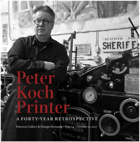 Photograph of printer Peter Koch with Heidelberg press