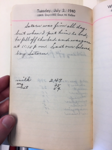 Page from Nellie Kono's diary