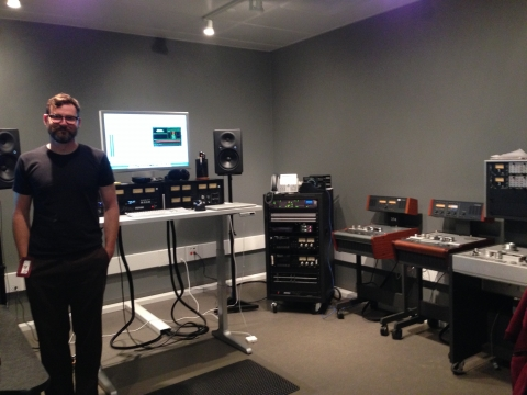Preservation Sound Engineer Nathan Coy in the audio lab