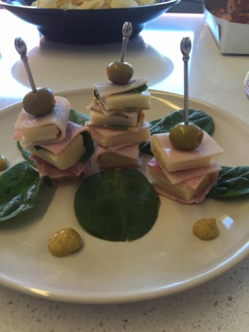 Tiny sandwiches shaped like edible books