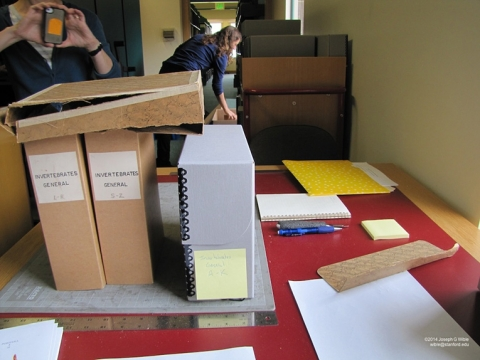 Miller Library, old boxes on worktable