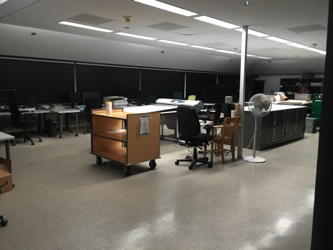 photo of empty digitization lab space in Green Library