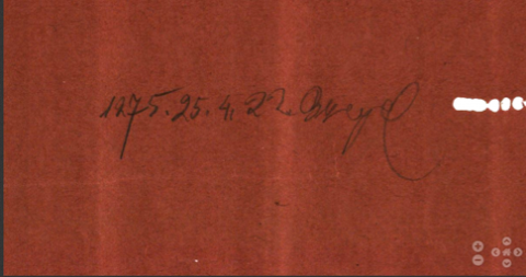 Piano roll detail with date and technician's initials
