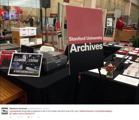 University Archives, Reunion Weekend Scanning Booth, Ford Center, Stanford University, 2014