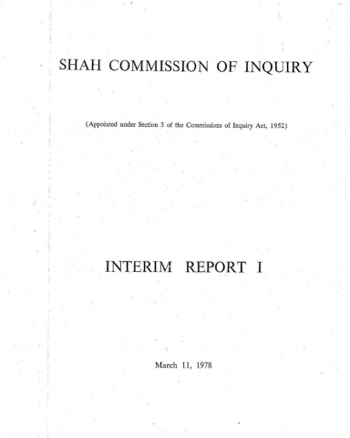 Shah Commission of Inquiry Report 1, page 1