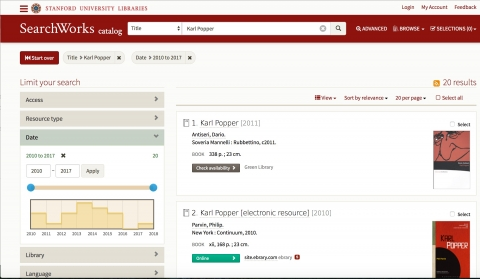 """Karl Popper"" entered in Searchworks search box"