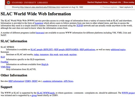 "Stanford Wayback screenshot of ""SLAC World Wide Web Information"" page, dated August 18, 1992"