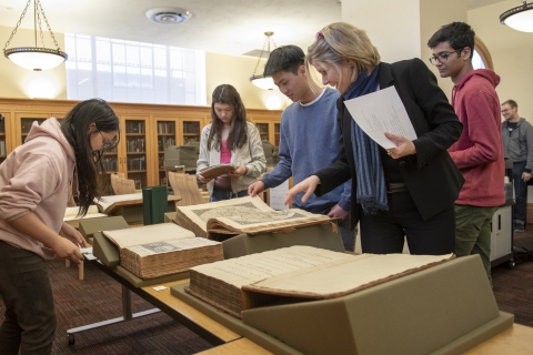 Stanford students using special collections materials