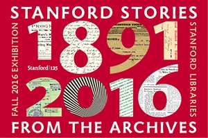 Logo version of poster design for Stanford Stories exhibition