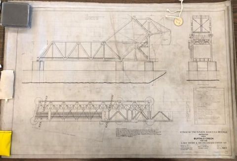 Joseph Strauss bridge plans. Strauss Trunnion Bascule Bridge over Buffalo Creek, Michigan