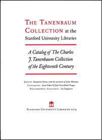 Title page of the Catalog of The Charles J. Tanenbaum Collection of the Eighteenth Century.