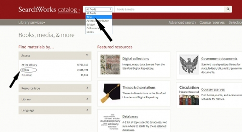 select title search and indicate online access