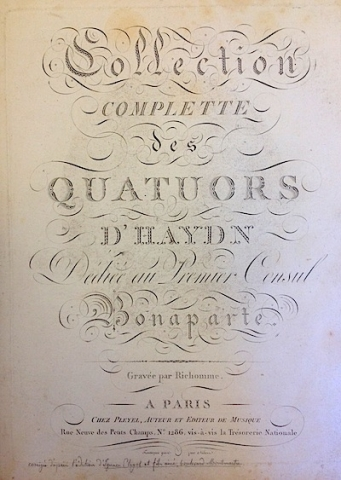 Haydn, Collection complette des quatuors (title page)