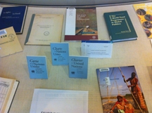 UN Day material from general and special collections on display at Green Library.