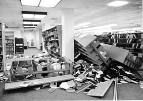 Bookshelves toppled during the 1989 Loma Prieta quake,
