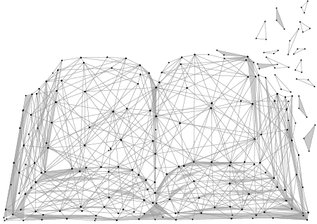 Graphic depiction of a book as constructed of linked nodes.