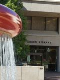 Green Library, red fountain.