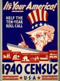 It's your America! Help the ten-year roll call--1940 census, U.S.A. Head-and-shoulders portrait of Uncle Sam, writing.