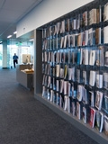 The McMurtry Building. Art & Art History Library. One wall displays all the newest periodicals in the art library.
