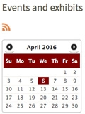 Library events and exhibits web page screen shot for April 2016