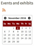 Events and Exhibits webpage screenshot for November 2016