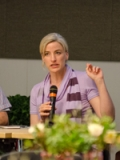Victoria Stodden, Assistant Professor of Statistics, Columbia University, speaks at the afternoon panel discussion.