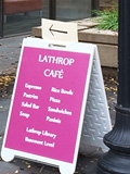 Lathrop Cupboard Café sign