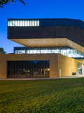 The Ute & Bill Bowes Art & Architecture Library at dusk.