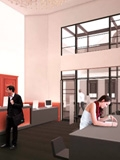 Architectural rendering of science library lobby