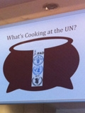 What's Cooking at the UN? poster display at Green Library.