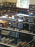 Cubberley Library stacks and main reading room, from above