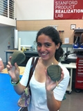 Photo of Library Intern, Samantha Castaneda at the Stanford Product Realization Lab.