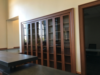 Circulation desk and reserve cabinet