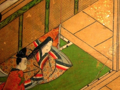 Detail from The Tale of Genji screen on display in the East Asia Library