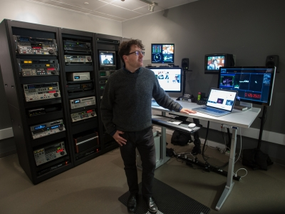 Michael in the video lab