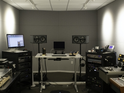 Nathan in the audio lab