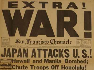 """Extra"" SF Chronicle issued following attack on Pearl Harbor, 1941 Dec 7"