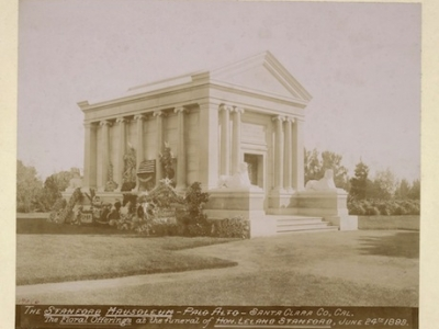 The Stanford Mausoleum - Palo Alto - Santa Clara Co., Cal. - Floral offerings at the mausoleum of Hon. Leland Stanford, June 24, 1893
