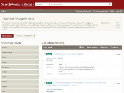 Stanford Research Data collection in SearchWorks