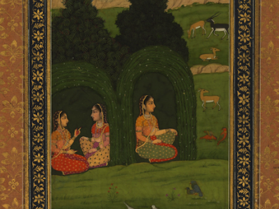 Nayaka and attendants in leafy bowers, Walters Manuscript W.876