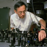 Steven Chu, professor of physics, in laser lab.