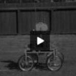 """""""Lunar Vehicle Remote Control"""" (n.d.): still from the earliest film in Stanford Collections showing a prototype lunar rover"""