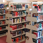 Shelves in the Music Library's reference room