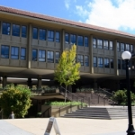 Side view of Lathrop Library, Stanford University
