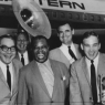 l to r: Jim Cullum Sr., Willson Davis, Louis Armstrong, Harvey Kindervater, and Jim Cullum Jr., 1965.