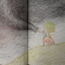 An image from one of the books in this collection, Akushu da, shows a boy trying to shake hands with a massive storm.
