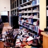 Damage to Cubberley Library book shelves from Loma Prieta earthquake 1989.